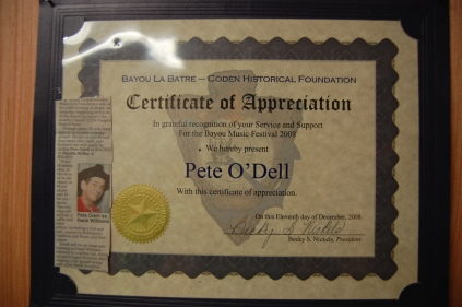 A certificate of appreciation O'Dell received from the Bayou La Batre/Coden Historical Foundation. (Photo by Nathan Simone)