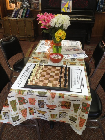 Visitors can even play board games while they read or enjoy a slice of pie.